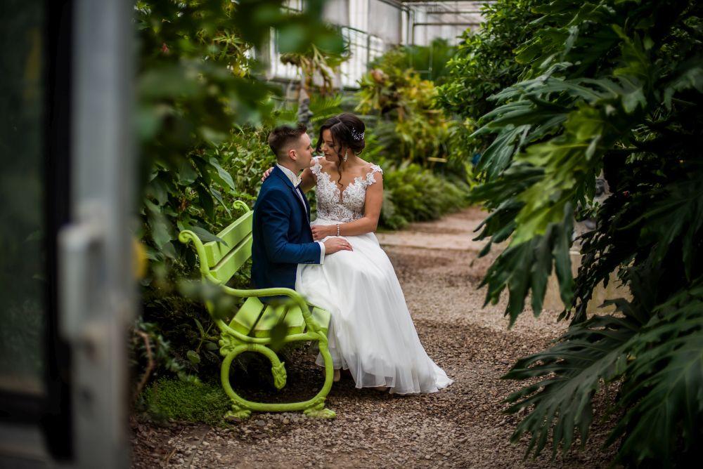 ławeczka w ogrodzie zdjęcia ślubne